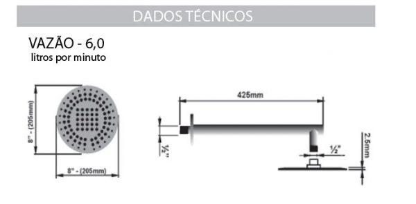 Ducha Cascata de Aço Inox 8'' Sodramar -1040