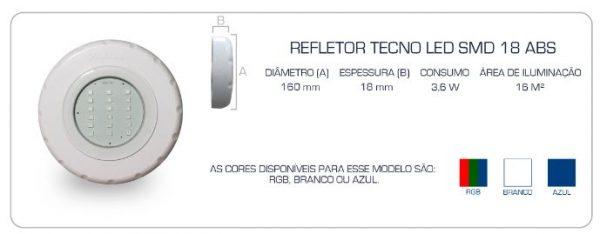 Refletor tecno Led SMD 18 Pooltec-1236