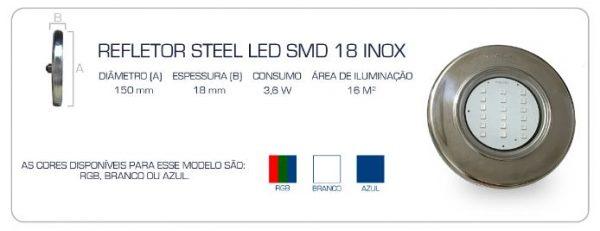 Refletor Steel Led SMD 18 3,6w Pooltec-1232