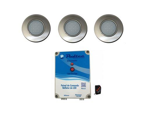 Kit 3 Refetores Steel Led SMD 35 RGB Inox + Comando Mod A Pooltec-0